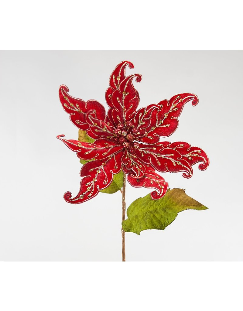 Red Embroidered Poinsettia