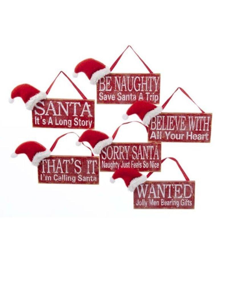 "5"" Wooden Sign w/ Santa Hat"