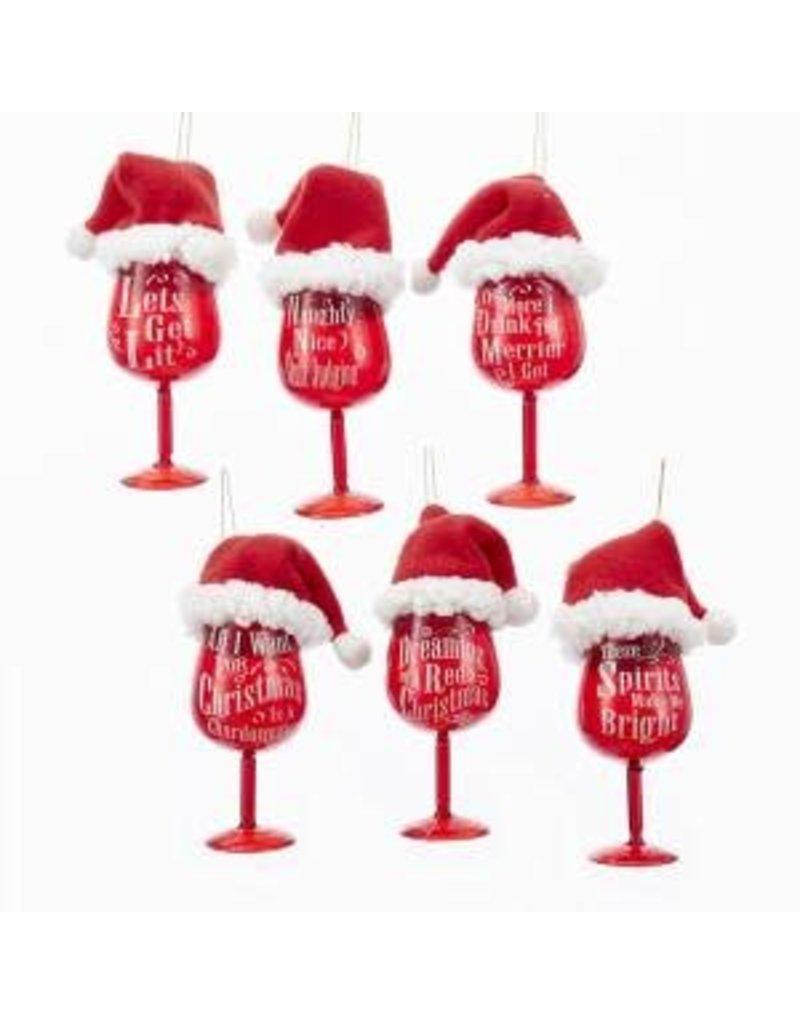Red Wine Glass w/ Santa Hat