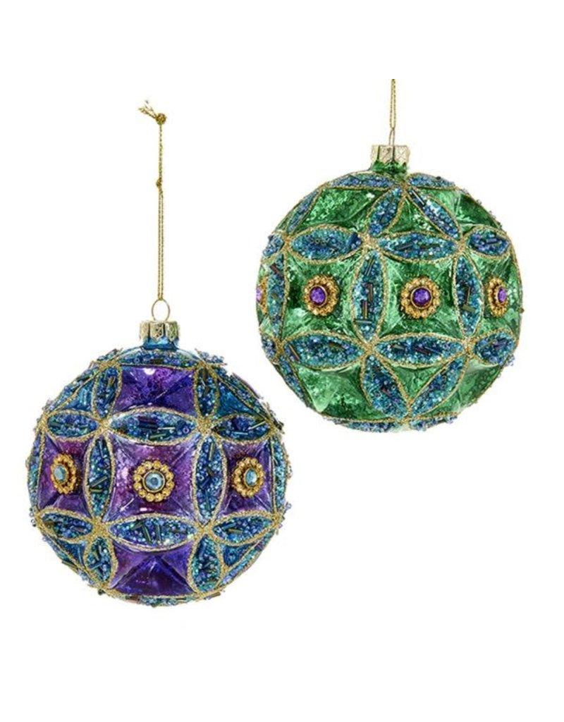 Glass Peacock/Jewel Ball Ornament