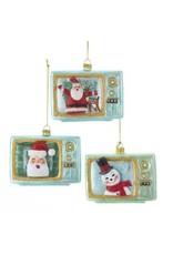 Glass TV w/ Santa/Snowman Ornament