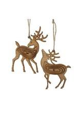 Wooden Brown Reindeer Ornament