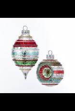 Striped Ball/Drop Nostalgic Ornaments 4 Pack