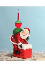 Bubble Light Santa in Chimney