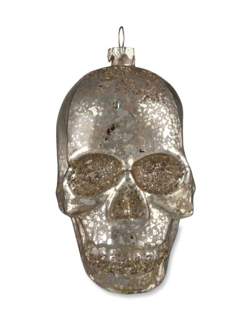Mercury Glass Skull Ornament