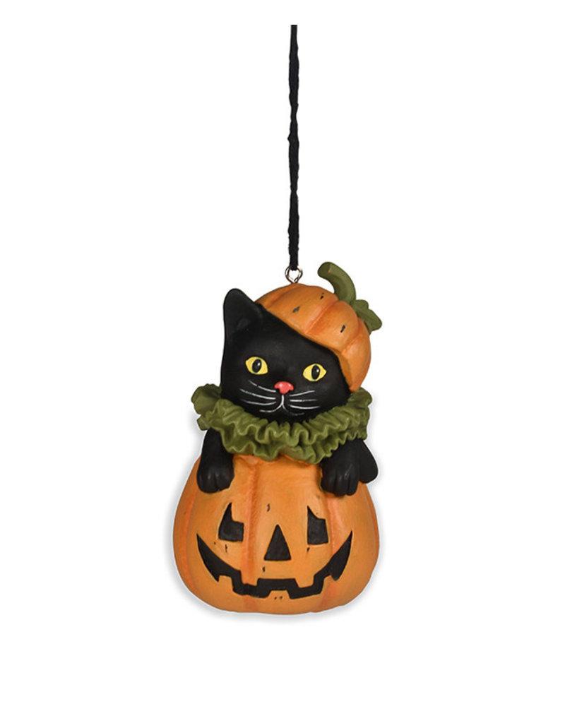 Black Cat in Jack o Lantern Ornament