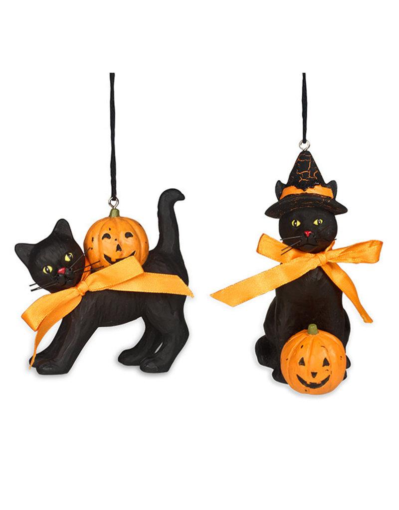 Black Cat w/ Pumpkin Ornament