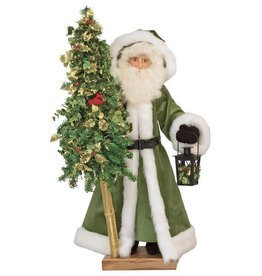 Golden Holly Santa Figure