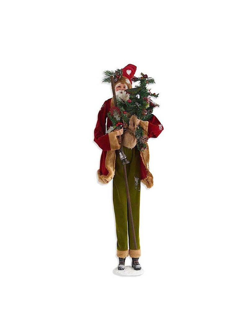 """38"""" Santa in Red Jacket Holding Latern & Tree"""