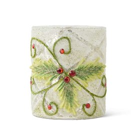 """4"""" Glass Candle Holder w/ Holly"""