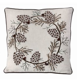 "18""x18"" Embroided Pine Branch Pillow"