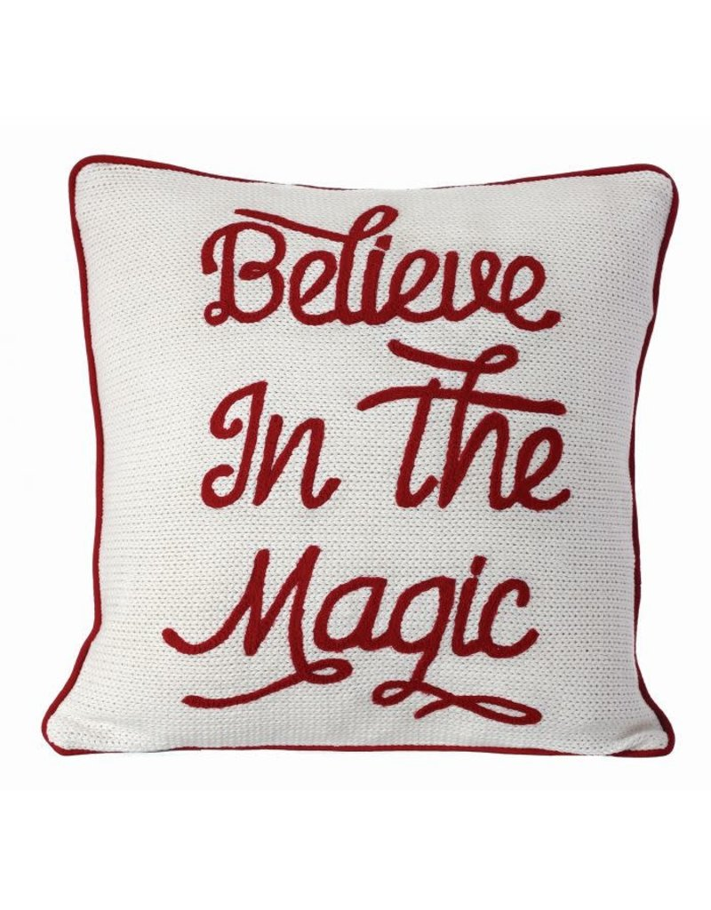 """18""""x18"""" Embroided 'Believe in Magic' Pillow"""