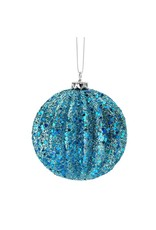 "4"" Glitter Ridged Ball Orn Blue"