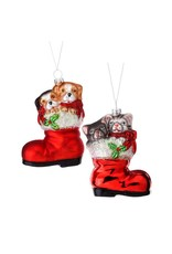 "5"" Glass Dog/Cat in Stocking Ornament"