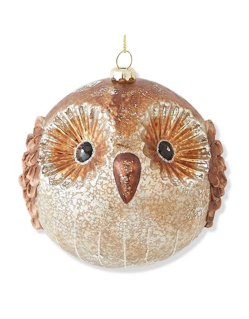 "5"" Round Antique Mercury Glass Owl Orn"