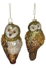 """5"""" Glass Glitter/Beaded Owl Orn"""