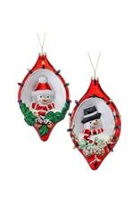 "6.5"" Glass Santa/Snowman Finial Orn"