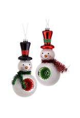 "7"" Glass Retro Snowman Reflector Orn"