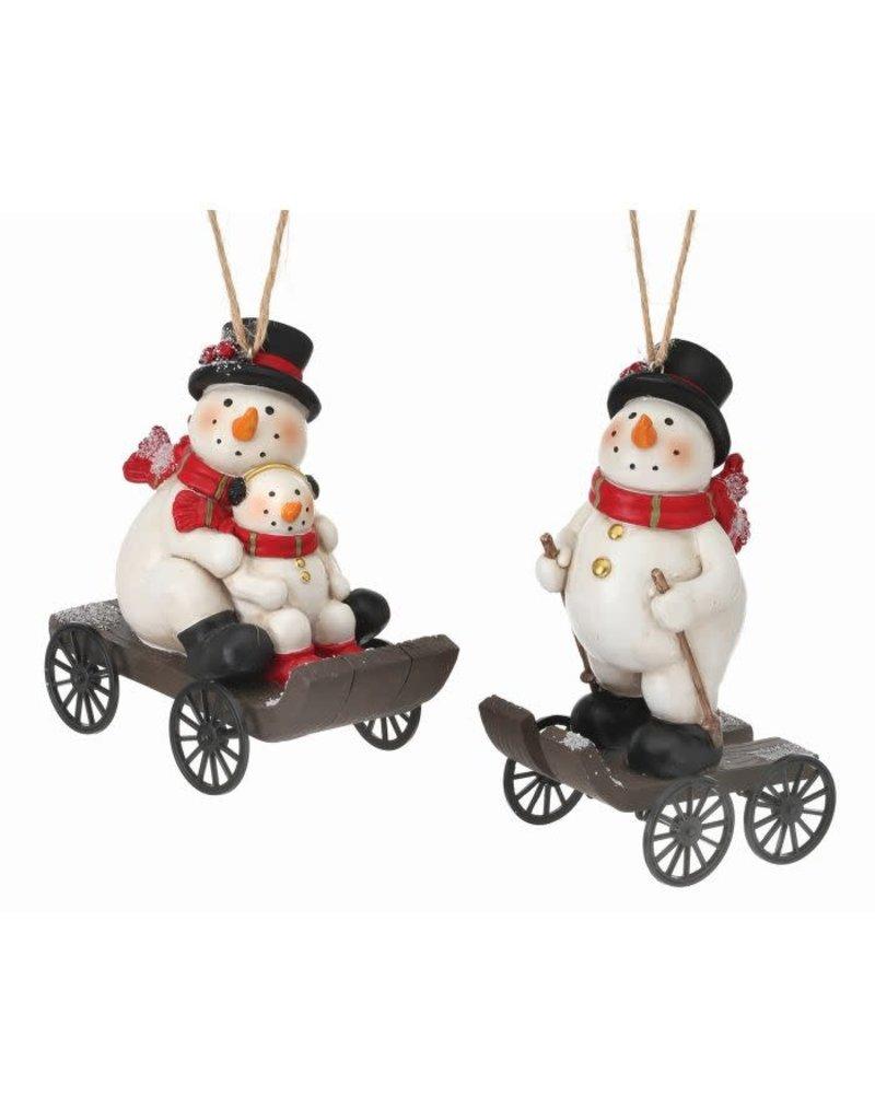 "5""-6"" Rsn Snowman on Wheeled Cart Orn"