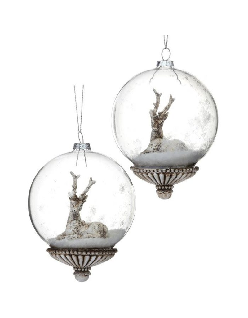 "5"" Glass/Resin Deer/Squirrel Ball Orn"