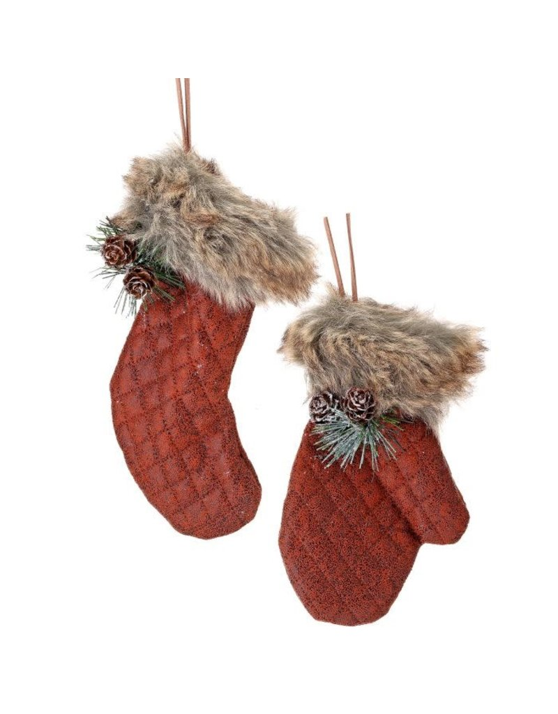 """6-7"""" Feaux Leather Mitten/Stocking Orn"""