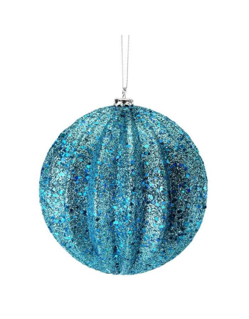 """6"""" Glitter Ridged Ball Ornament"""