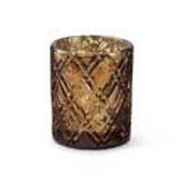 """3.5"""" Copper Mercury Glass w/ Criss Cross Pattern"""