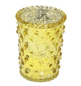 "3.5"" x 2.5"" Hobnail Glass Votive Yellow"