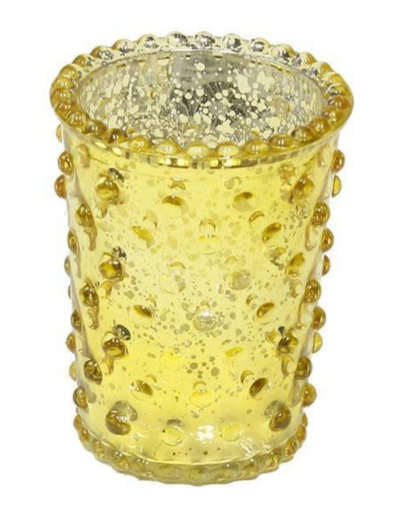 """3.5"""" x 2.5"""" Hobnail Glass Votive Yellow"""