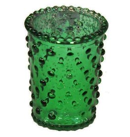 "3.5"" x 2.5"" Hobnail Glass Votive Green"