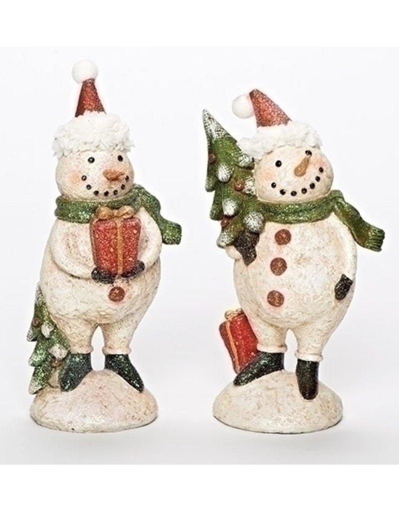 """9"""" PLUMPY SNOWMAN W/TREE/GIFT"""