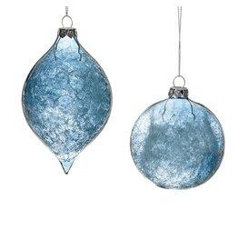 "3.5"" Blue Glass Ice Orn"