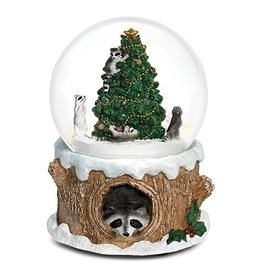 "Musical 5.5"" Raccoon in Tree Dome 100mm"
