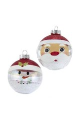 80mm Clear/White Santa/Snowman Balls 6pc