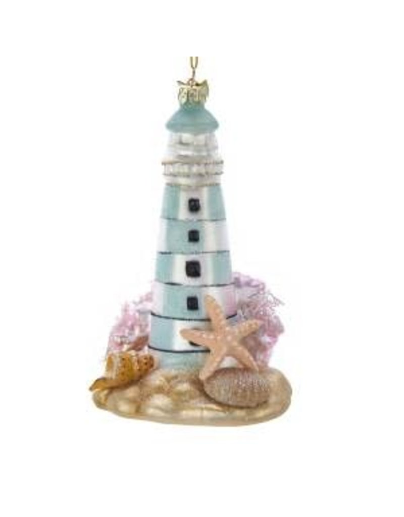 "5"" Noble Gems Glass Lighthouse Orn"
