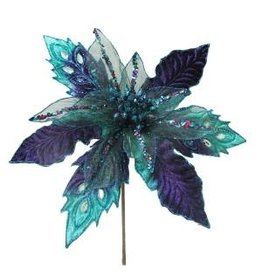 Peacock Poinsettia Pick