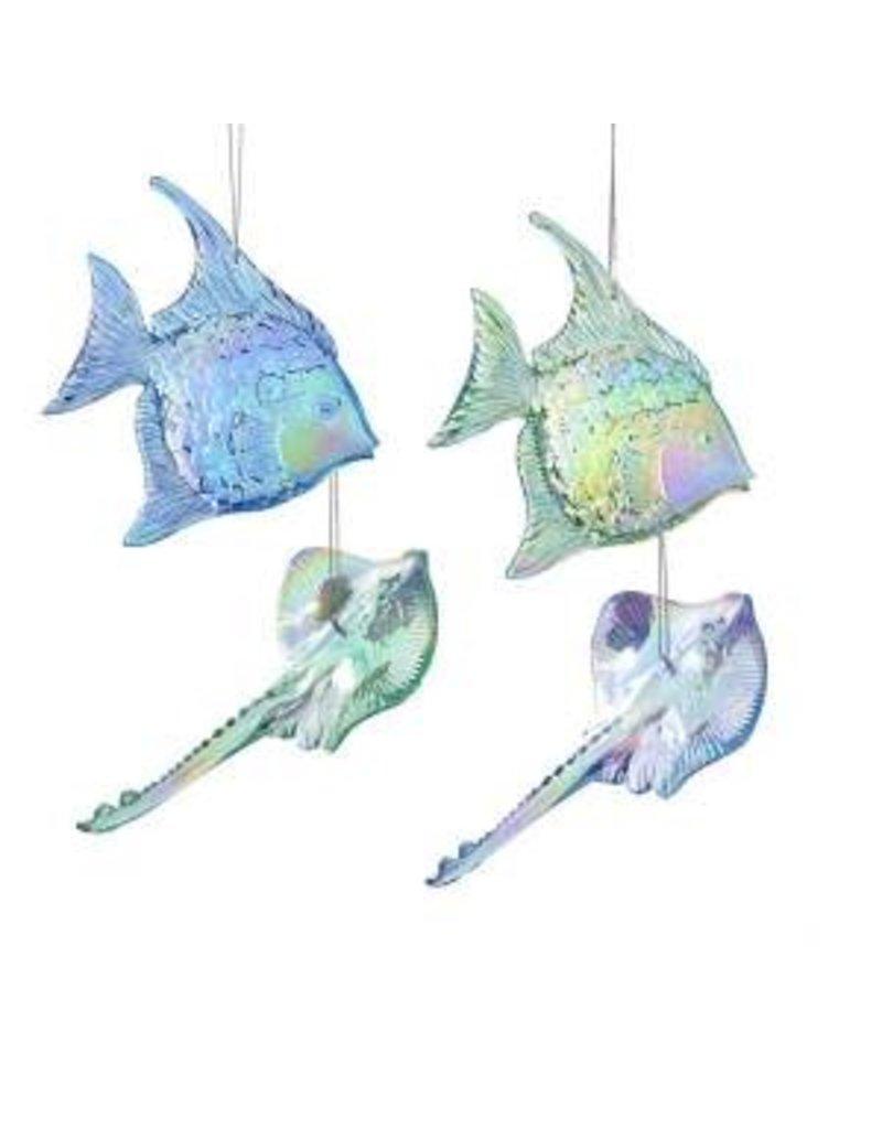 "4.75"" Blue/Green Fish/Stingray Orn"