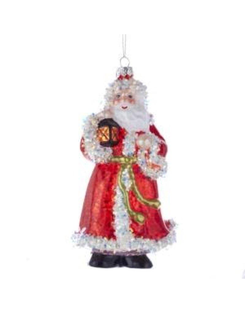 6.5 Red/White Glass Santa w/ Glitter