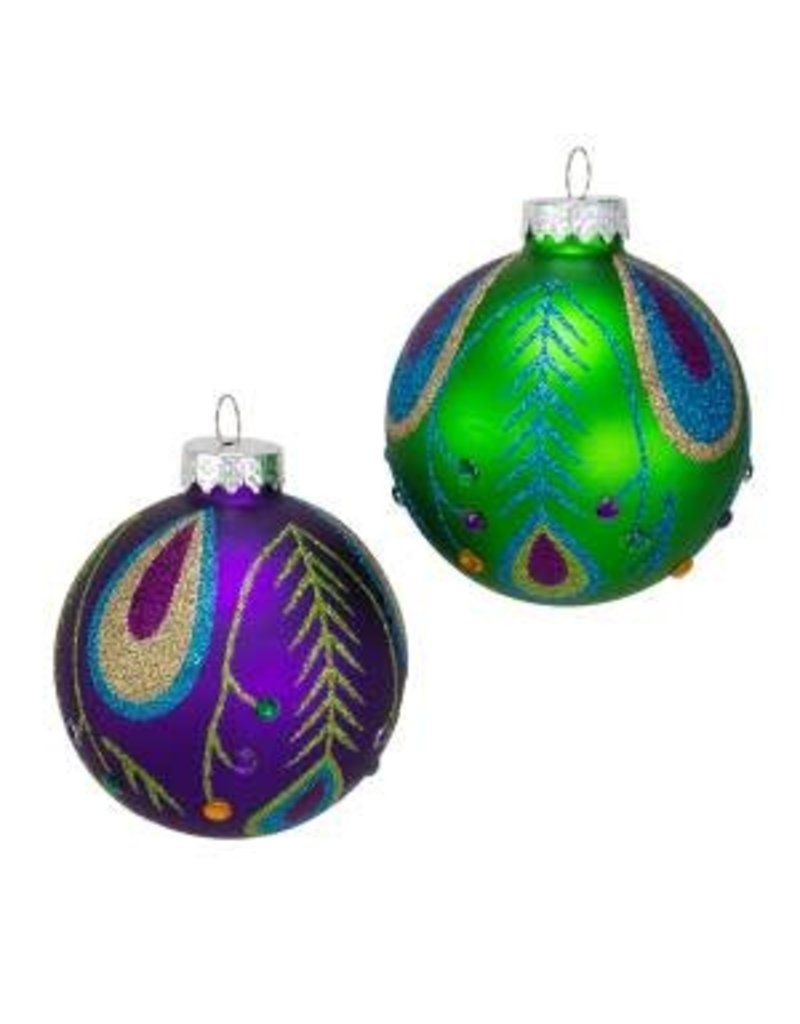 80mm Peacock Purple/Green Glass Balls 6pc