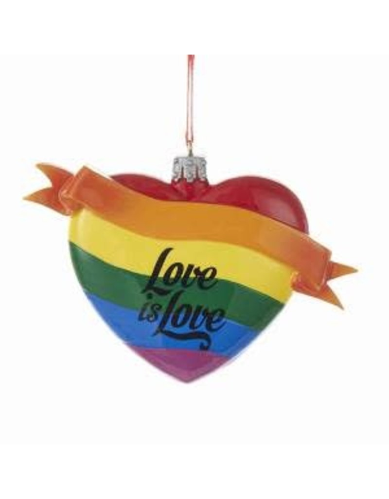 "4"" Rainbow 'Love is Love' Heart Orn"