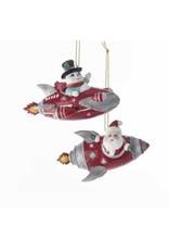 "4"" Mid Century Santa/Snowman in Rocket Orn"