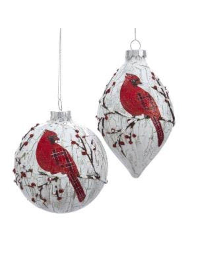 "4.5-5.25"" Glass Red Bird Orn"