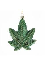 """4.25"""" Glass Cannabis Leaf Orn"""