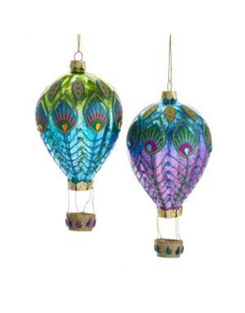 """6"""" Glass Peacock Balloon Orn"""