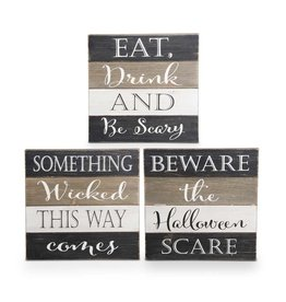 Asst. wooden Halloween message signs