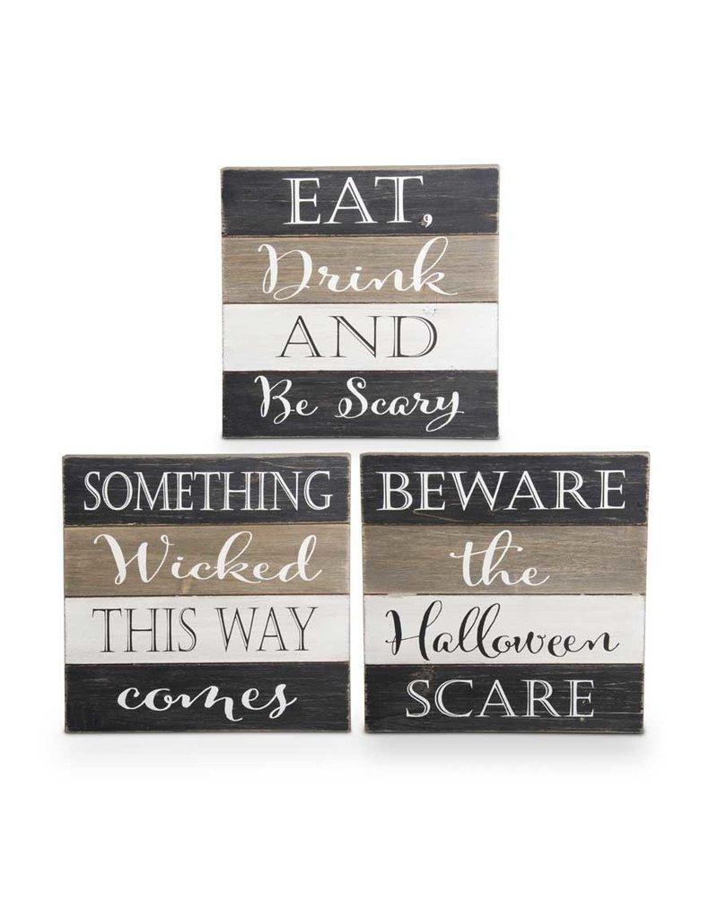 Asst. wooden Halloween message signs