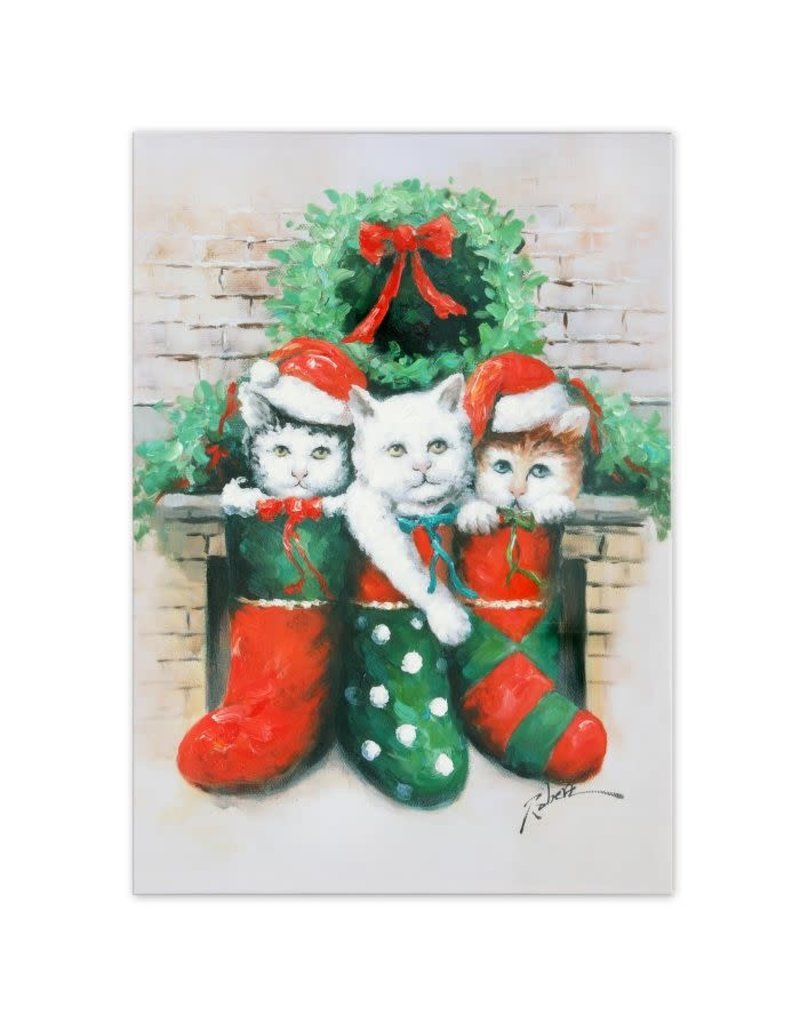 """Kittens in Stockings Oil on Canvas 20"""" x 27"""""""