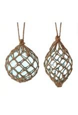 "5"" glass ball/finial w/net orn blue"
