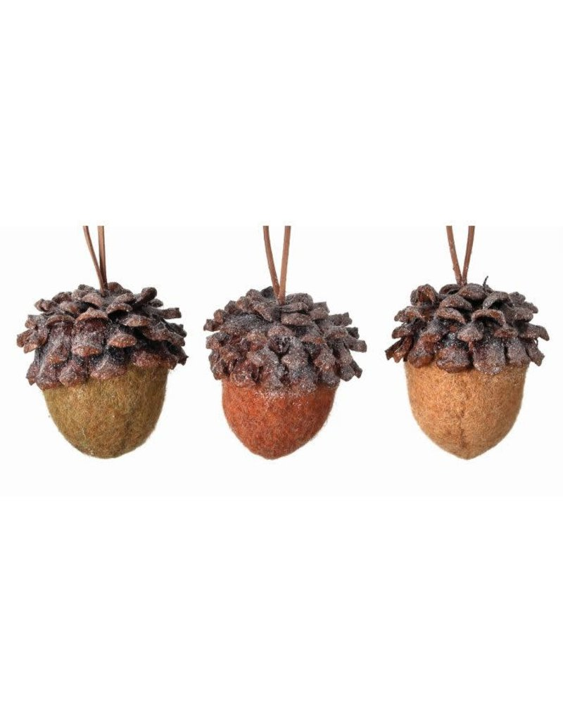 "3"" wool pine/acorn orn"