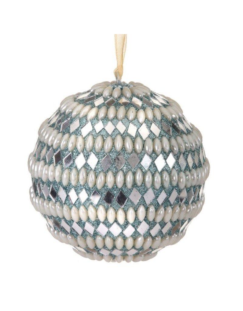 """4"""" Pearl & Mirror Chips Ball Orn Aqua Blue"""